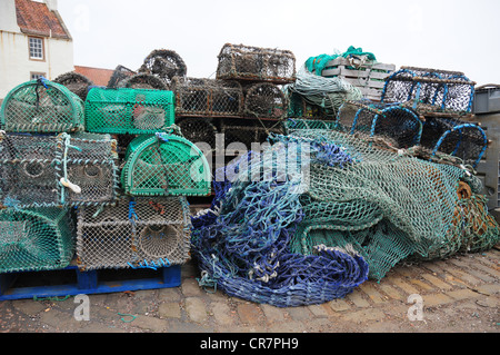 Lobster and crab creels by the harbour of the Fife fishing port of Pittenweem - Stock Image