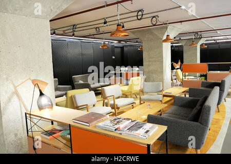 The IT Hub room  in the Warehouse for office workers to meet and relax at The Bower complex in Old Street, Tech - Stock Image