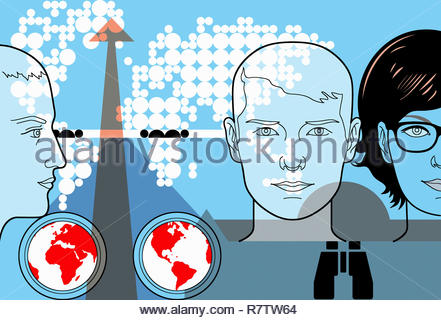 Young people with global connections and international outlook - Stock Image