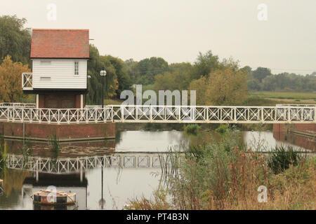 Tewkesbury weir, river severn - Stock Image