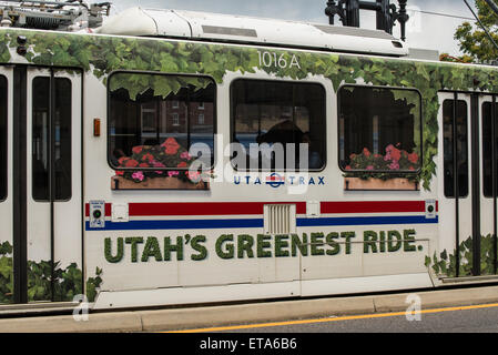 Environmentally Friendly Transportation - Utah Transit Authority (UTA) Advertisement - Salt Lake City ,Utah - Stock Image