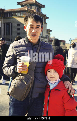 Chinese dad and his daughter portrait, Beijing - Stock Image