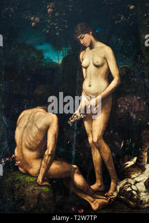Hans Thoma, Adam and Eve, painting, 1886 - Stock Image