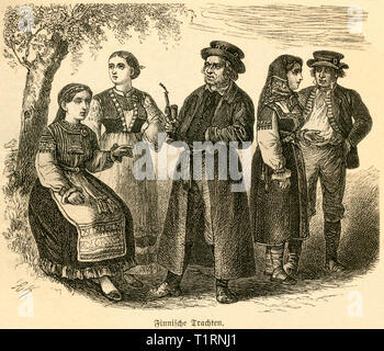 Finland, Finnish folklore, traditional fashion, image from: 'Das heutige Russland ', (Russia today), published by H.v. Lankenau and L.v.d. Oelsnitz, publishing house Otto Spamer, Leipzig, 1876. , Additional-Rights-Clearance-Info-Not-Available - Stock Image