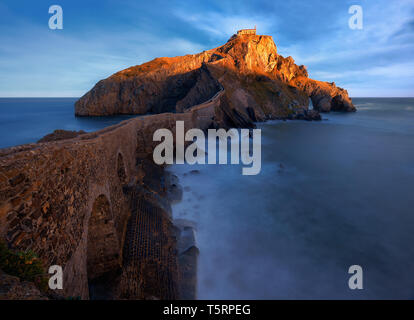 Seascape with Gaztelugatxe church in Basque Country at the sunrise - Stock Image