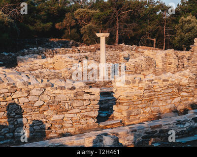 Old ruins from the ancient greek civilization at Porto Aliki on Thasos Island, Aegean Sea, Greece - Stock Image