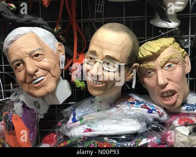 Mexico. 8th May 2018. Masks of Mexican presidential candidates Andres Manuel Lopez Obrador (AMLO) from Morena party, left, Ricardo Anaya Cortes, from PAN party and United States President Donald Trump in a market in Mexico Credit: Chico Sanchez/StockimoNews/Alamy Live News - Stock Image