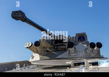 BMP EXCALIBUR armored vehicle tower against a blue sky Ukraine, Kiev 11.10.2018 - Stock Image