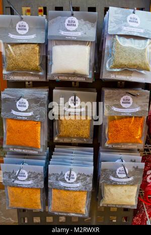 Glosa Marina salt, spices, and seasoning, old town, Alcudia, Mallorca, Balearic islands, Spain - Stock Image