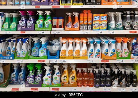 Cleaning products on sale at a Sainsburys supermarket, UK - Stock Image
