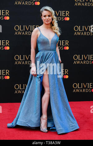 London, UK. 7th Apr 2019. Joanne Clifton poses on the red carpet at the Olivier Awards on Sunday 7 April 2019 at Royal Albert Hall, London. Picture by Credit: Julie Edwards/Alamy Live News - Stock Image