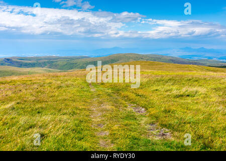Looking west from near the summit of Ben Cleuch in the Ochil Hills, Clackmannanshire, Scotland, UK - Stock Image