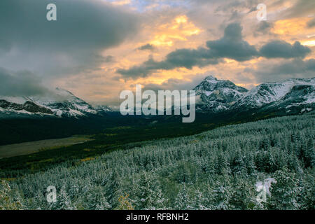 Winter storm, Rising Wolf Mountain and Two Medicine area. Glacier National Park, Montana - Stock Image