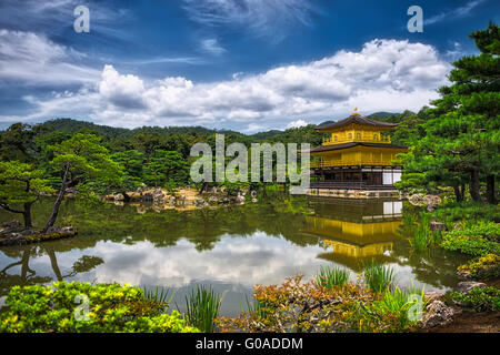 Golden Pavilion at Kinkakuji Temple, Kyoto Japan reflecting in the lake - Stock Image