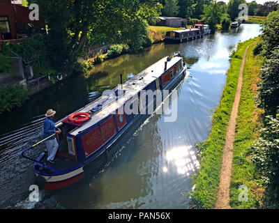 Canal boat at Grappenhall, South Warrington, Cheshire, North West England, UK - Stock Image