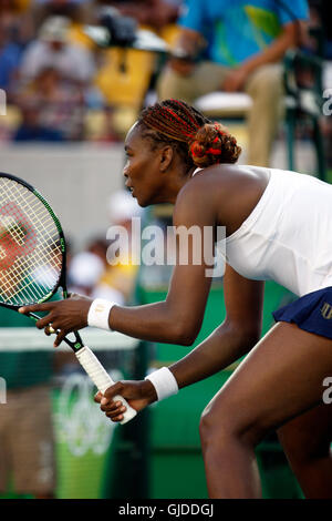 Venus Williams in the Olympic Tennis Mixed Doubles final in Rio de Janeiro.  Venus partnered Ram Rajeev and they - Stock Image