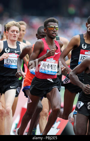 Mohammed AHMED (Canada) competing in the Men's 5000m Final at the 2018, IAAF Diamond League, Anniversary Games, Queen Elizabeth Olympic Park, Stratford, London, UK. - Stock Image