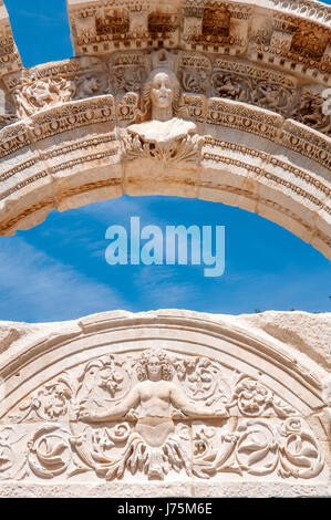 Detail of the Temple of Hadrian, Roman ruins of ancient Ephesus, - Stock Image