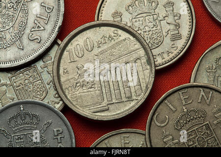 Coins of Spain. Prado Museum and Velazquez Monument in Madrid, Spain depicted in the Spanish 100 peseta coin (1994). - Stock Image