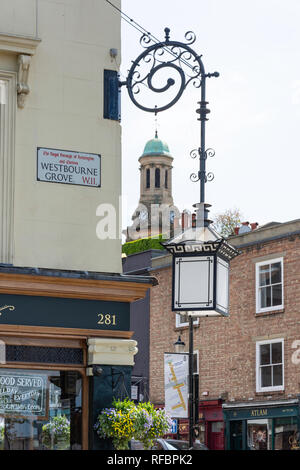 Old gas lamp, Westbourne Grove, Bayswater, City of Westminster, Greater London, England, United Kingdom - Stock Image