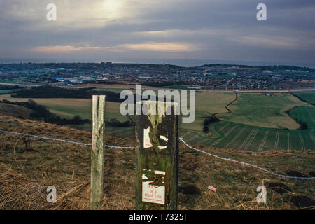Site of Eurotunnel, Folkestone, Kent, England before construction began in 1986 - Stock Image