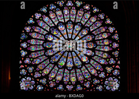 France, Paris, Ile de la Cite, the Notre Dame Cathedral, detail of the North Rose window with the Virgin in the - Stock Image