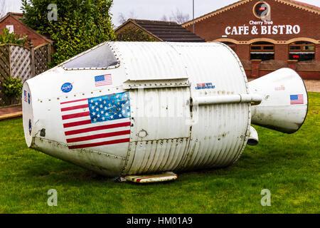 NASA space rocket pod landing pod back to Earth pod space shuttle escape pod - Stock Image
