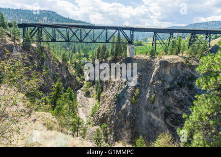 Trout Creek Bridge (1913), a railway trestle over Trout Creek Canyon on the historic Kettle Valley Steam Railway. - Stock Image