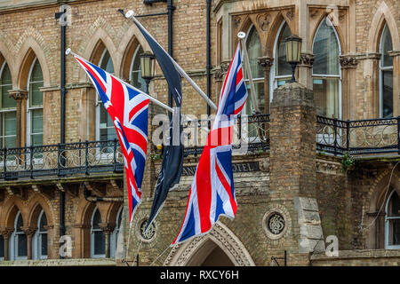 Flags Flying At The  Randolph Hotel, Oxford, UK - Stock Image