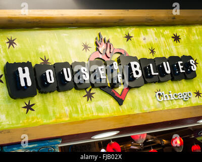 House of Blues sign at Chicago Midway International Airport. House of Blues is a popular music venue. - Stock Image