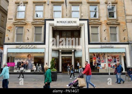 Monsoon clothing store at Rowan House on Glasgow's 'Style Mile' pedestrian precinct, Buchanan Street, Glasgow city centre, Scotland, UK - Stock Image
