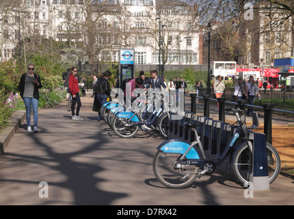 Bikes for hire at Speakers Corner Hyde Park London - Stock Image