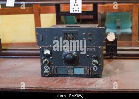 Liverpool Exchange Flags Western Approaches HQ WWII Second World War Derby House museum bunker Citadel Fortress Citadel or Fortress radio receiver - Stock Image