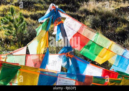 Tibet, Tempelburg Yumbulhakhang, Gebetsfahnen - Stock Image