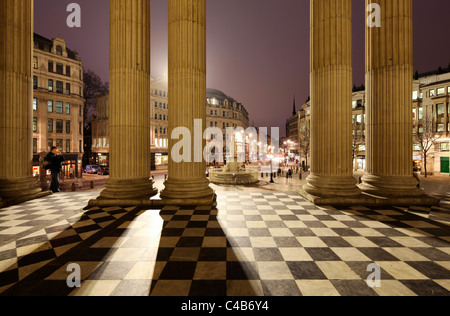 The entrance area of St. Paul's Cathedral in London at night. - Stock Image