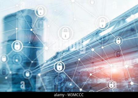 Cyber security, information privacy, data protection concept on modern server room background. Internet and digital technology concept. - Stock Image