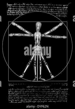 Vitruvian Man a mannequin under x-ray - Stock Image