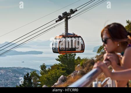 Cable car above Dubrovnik; Dubrovnik, Croatia - Stock Image
