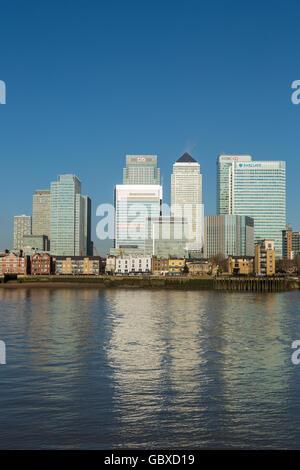 Canary Wharf skyline business district, banks, London, England - Stock Image