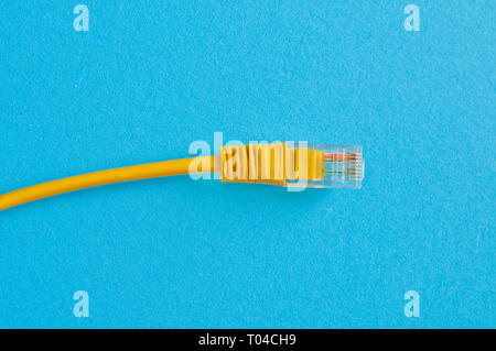 yellow Ethernet cable on blue background - Stock Image