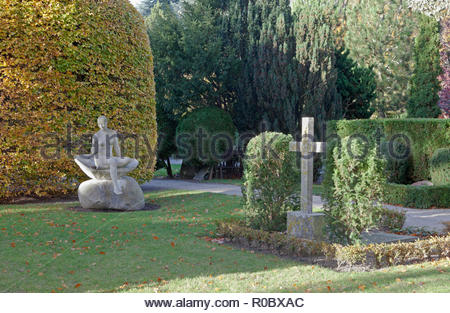 Garnisons Cemetery, Garnisons Kirkegård, in Copenhagen, mainly military persons but also cultural celebrities and family, etc. are buried here. - Stock Image