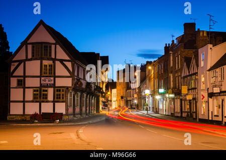 Light Trails in Tewkesbury Town Center - Stock Image