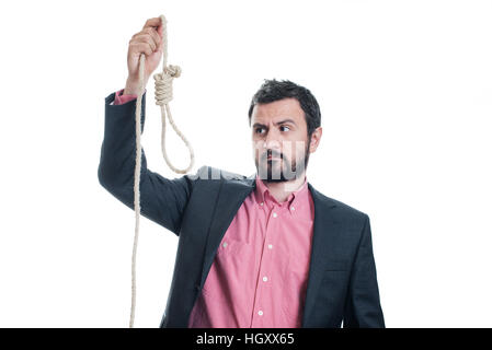 Portrait of a businessman with a gallows in his hand - Stock Image