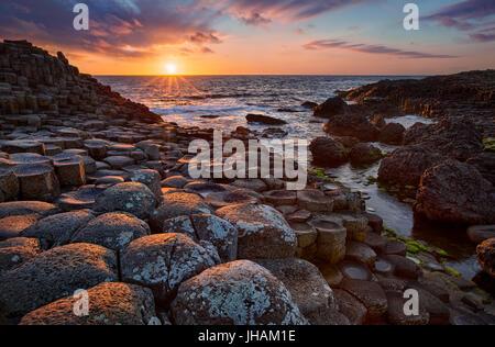 sunset over basalt columns Giant's Causeway, County Antrim, Northern Ireland - Stock Image