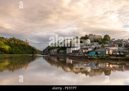 Clifton Suspension Bridge Reflected in the River Avon at High Tide. - Stock Image