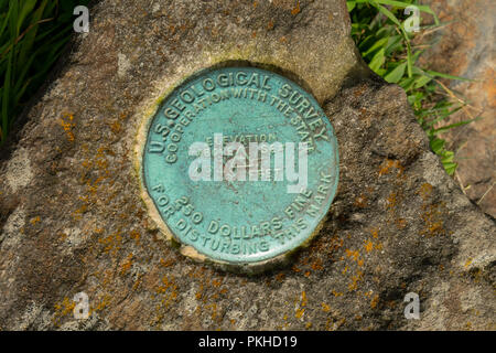 Gregory Bald Survey Marker inset into rock - Stock Image