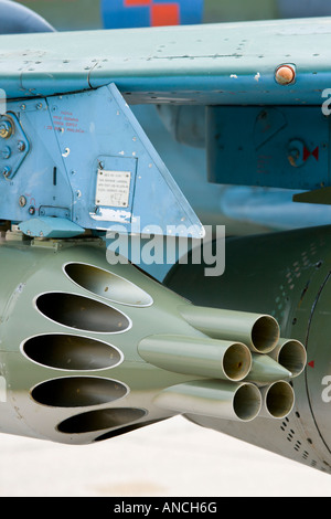Unguided aviation rockets underwing pod detail - Stock Image