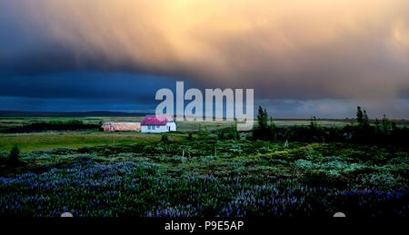 a white house with large storm clouds in Iceland - Stock Image