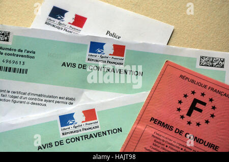 Notice of contravention and driving license - Stock Image
