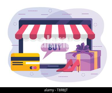 tablet technology to shopping online and credit card vector illustration - Stock Image